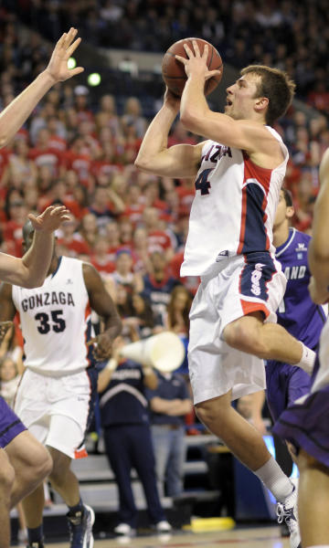 Gonzaga's Kevin Pangos (4) shoots against Portland in the first half of an NCAA college basketball game on Saturday, March 2, 2013, in Spokane, Wash. (AP Photo/Jed Conklin)