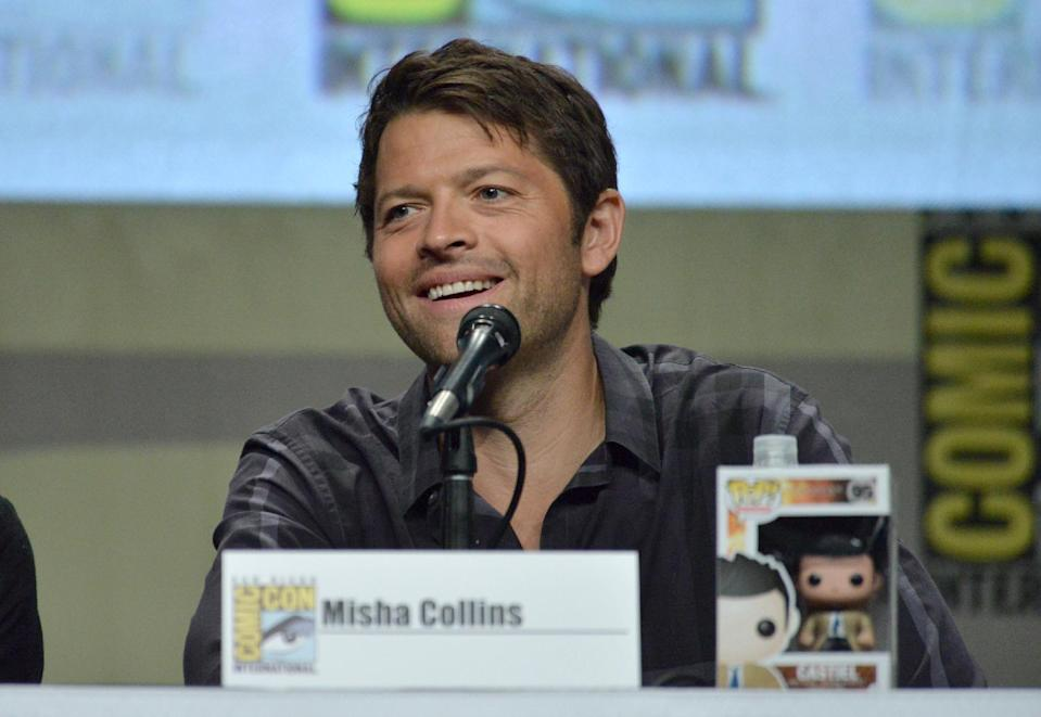 "Misha Collins attends the ""Supernatural"" special video presentation and Q&A on Day 4 of Comic-Con International on Sunday, July 27, 2014, in San Diego. (Photo by Richard Shotwell/Invision/AP)"