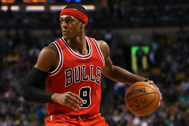 When Chicago Bulls guard Rajon Rondo, pictured in 2016, is playing, the Bulls outscore their opponents by 14.6 points, but when he's not on the court, the Bulls are outscored by 5.4 points (AFP Photo/Maddie Meyer)