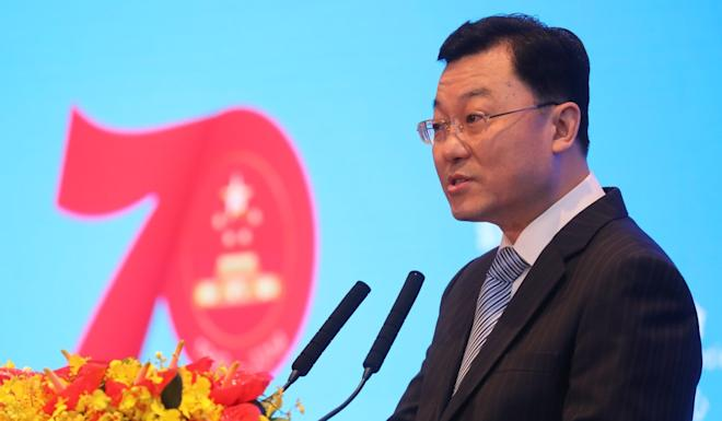 Xie Feng, Beijing's top diplomat in Hong Kong, speaks at the ceremony. Photo: K.Y. Cheng