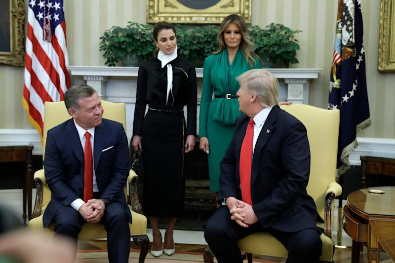 President Donald Trump and first lady Melania Trump meets with Jordan's King Abdullah II and Queen Rania in the Oval Office of the White House in Washington, Wednesday, April, 5, 2017 - Credit: AP Photo/Evan Vucci