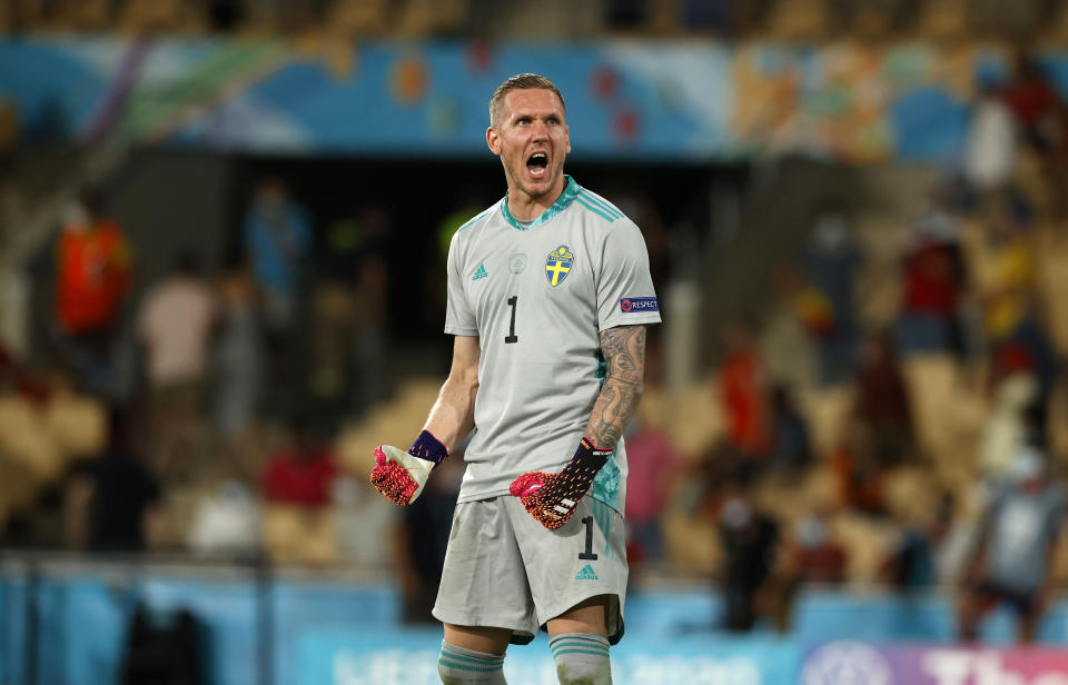SEVILLE, SPAIN - JUNE 14: Robin Olsen of Sweden celebrates following the UEFA Euro 2020 Championship Group E match between Spain and Sweden at the La Cartuja Stadium on June 14, 2021 in Seville, Spain. (Photo by Marcelo Del Pozo - Pool/Getty Images)