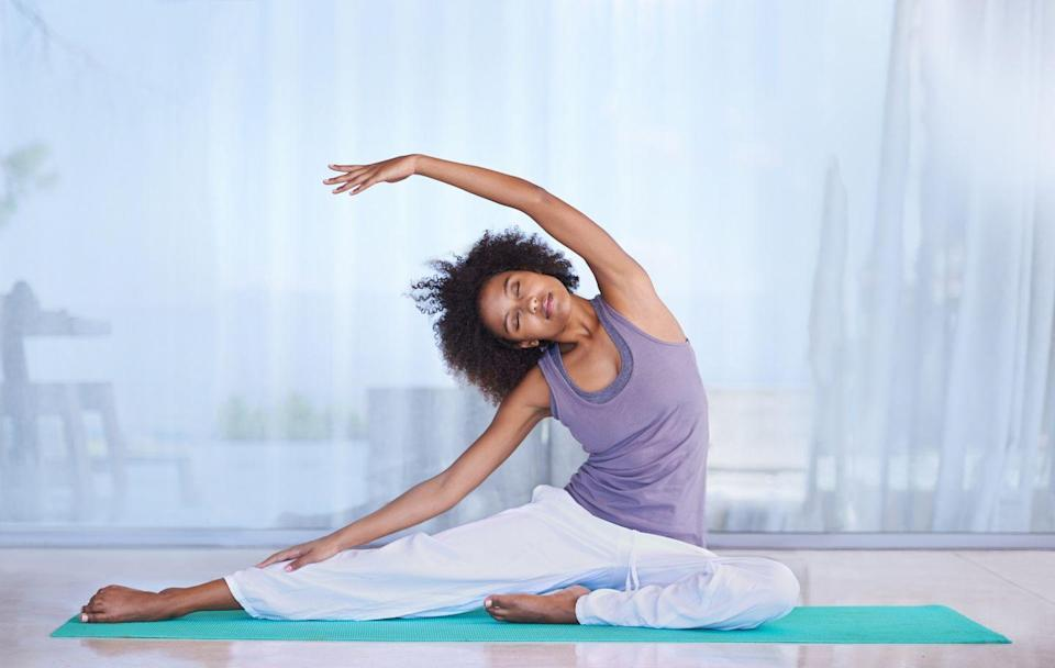 "<p>By now it likely comes as no surprise that <a href=""https://www.prevention.com/fitness/workouts/g24228550/body-positivity-yoga-poses/"" rel=""nofollow noopener"" target=""_blank"" data-ylk=""slk:yoga"" class=""link rapid-noclick-resp"">yoga</a>—with its feels-so-good stretches and poses and strong focus on the mind-body connection—can work to relieve stress. But that's not where the benefits stop: The ancient practice can also build stress resilience by increasing levels of a brain <a href=""https://www.frontiersin.org/articles/10.3389/fnhum.2017.00315/full"" rel=""nofollow noopener"" target=""_blank"" data-ylk=""slk:chemical called BDNF"" class=""link rapid-noclick-resp"">chemical called BDNF</a>, which plays a role in everything from inflammation and mood regulation to stress response, meaning you'll be stronger next time you come face to face with stress.</p>"