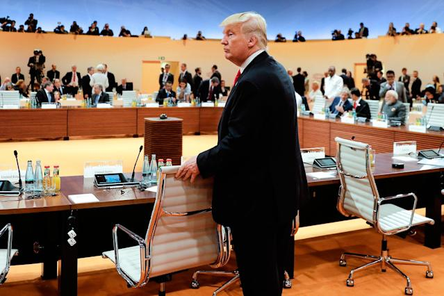 <p>President Donald Trump arrives for a working session at the G-20 summit in Hamburg, northern Germany, Saturday, July 8, 2017. (Photo: Markus Schreiber, pool/AP) </p>