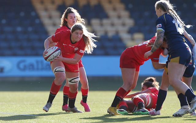 Poppy Cleall scored a brace for Saracens in their 48-26 win over Worcester Warriors