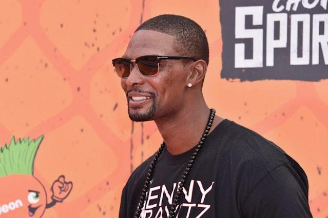 "<a class=""link rapid-noclick-resp"" href=""/nba/players/3707/"" data-ylk=""slk:Chris Bosh"">Chris Bosh</a> at the Nickelodeon Kids' Choice Sports Awards in July. (Getty Images)"