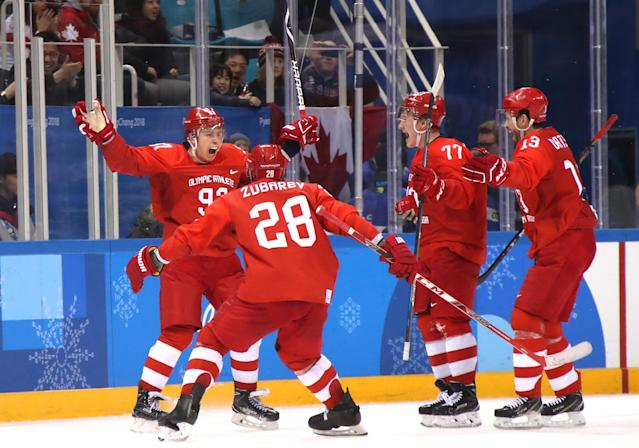 <p>Nikita Gusev #97 of Olympic Athlete from Russia celebrates with teammates after scoring a goal in the third period against Germany during the Men's Gold Medal Game on day sixteen of the PyeongChang 2018 Winter Olympic Games at Gangneung Hockey Centre on February 25, 2018 in Gangneung, South Korea. (Photo by Bruce Bennett/Getty Images) </p>