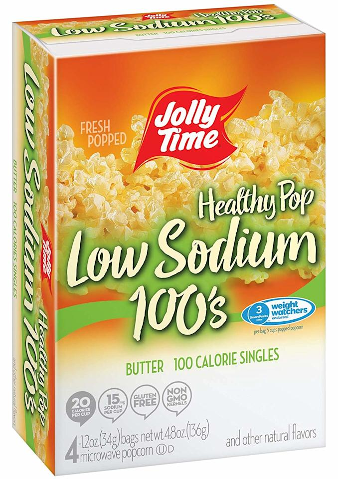<p><strong>The Lowdown:</strong> (5 cups) 110 calories, 2g fat, 95mg sodium</p> <p>If you pop and can't stop, no worries: This low-sodium snack has less than 100mg of sodium in a whole bag! You'll also get 5 grams of heart-healthy fiber.</p>