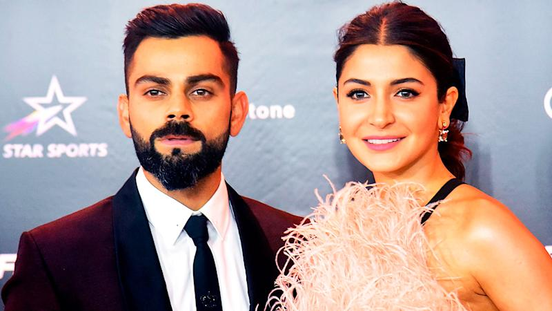 Virat Kohli (pictured left) posing with his wife Bollywood actress Anushka Sharma (pictured right).