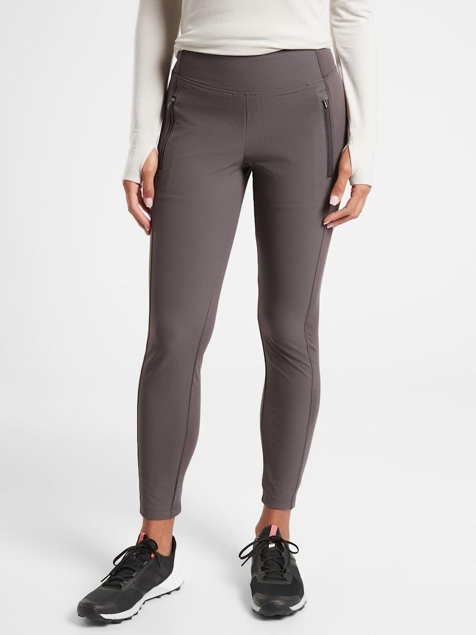 <p>This cozy <span>Athleta Headlands Hybrid Tight</span> ($82, originally $109) is a solid choice for cold-weather outdoor workouts or walks as the full-coverage fabric combines knit and woven bits for maximum mobility.</p>