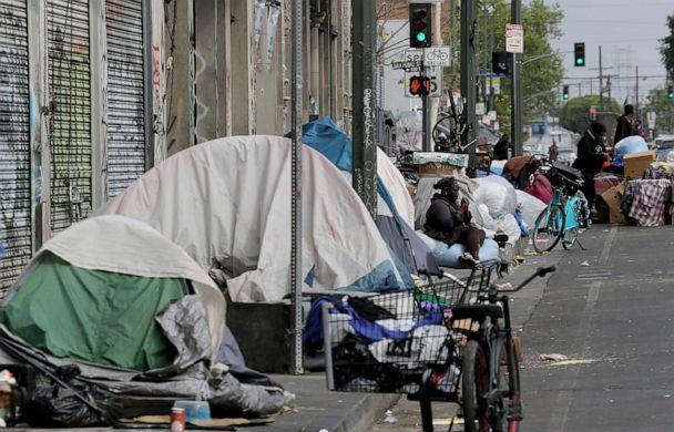 PHOTO: Tents housing the homeless line the streets in the Skid Row community of Los Angeles, April 26, 2021. (Luis Sinco/Los Angeles Times via Getty Images, FILE)