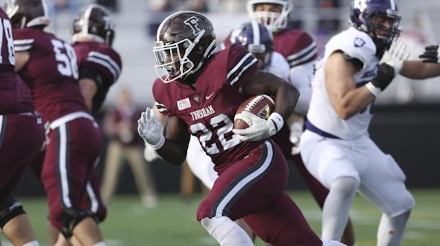 Fordham's Chase Edmonds #22 in action against Holy Cross during an NCAA college football game, Saturday, Nov. 4, 2017, in Bronx, N.Y. Holy Cross won 42-20. (AP Photo/Steve Luciano)