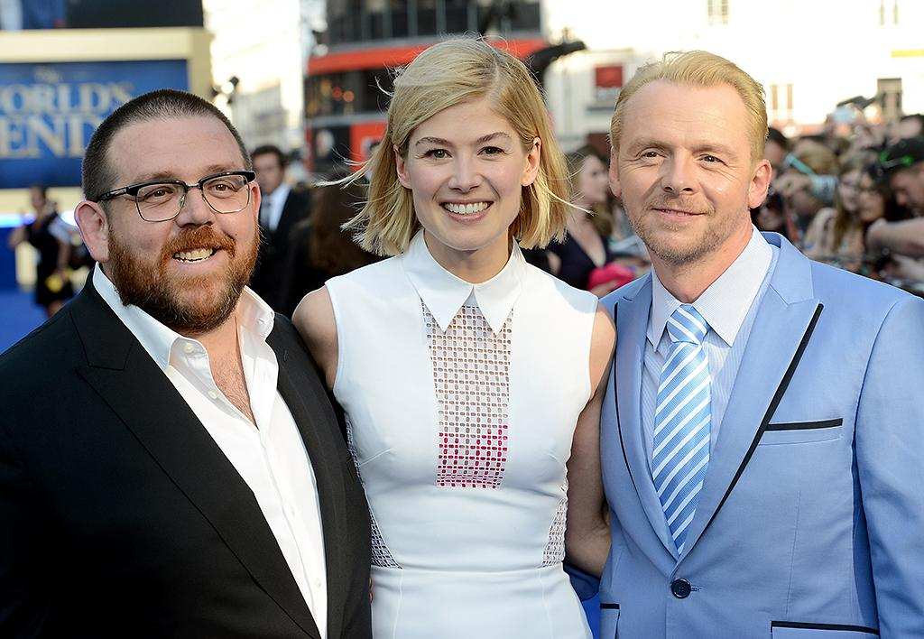 "LONDON, ENGLAND - JULY 10:  Actors Nick Frost, Rosamund Pike and Simon Pegg attend ""The World's End"" world premiere at the Empire Leicester Square on July 10, 2013 in London, England.  (Photo by Dave J Hogan/Getty Images)"