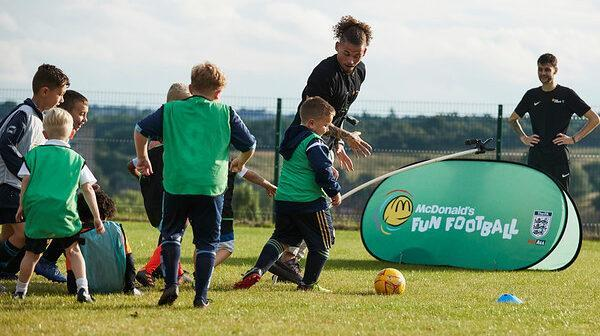 Phillips made a surprise visit to first club Wortley to take part in a McDonalds Fun Football Session