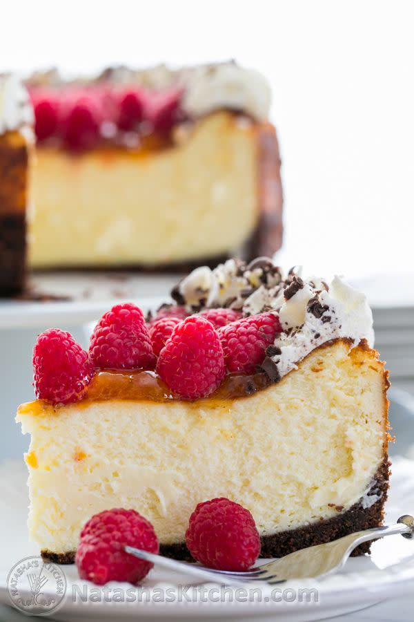 """<p>You had us at chocolate crust.</p><p>Get the recipe from <a rel=""""nofollow"""" href=""""http://natashaskitchen.com/2014/04/14/raspberry-apricot-cheesecake-with-chocolate-crust/"""">Natasha's Kitchen</a>.</p>"""