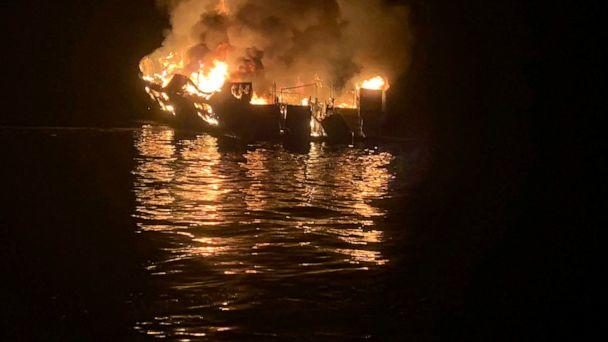 FILE - In this Sept. 2, 2019, file photo, provided by the Santa Barbara County Fire Department, a dive boat is engulfed in flames after a deadly fire broke out aboard the commercial scuba diving vessel off the Southern California Coast. The owners of (The Associated Press)