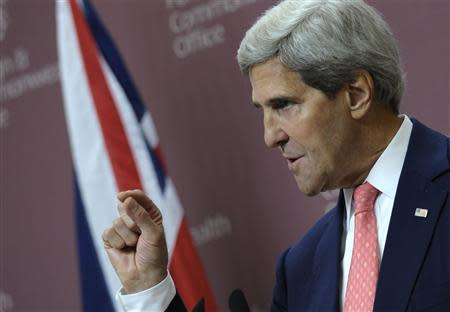 U.S. Secretary of State John Kerry speaks during a news conference with Britain's Foreign Minister William Hague at the Foreign and Commonwealth Office in London September 9, 2013. REUTERS/Susan Walsh/Pool