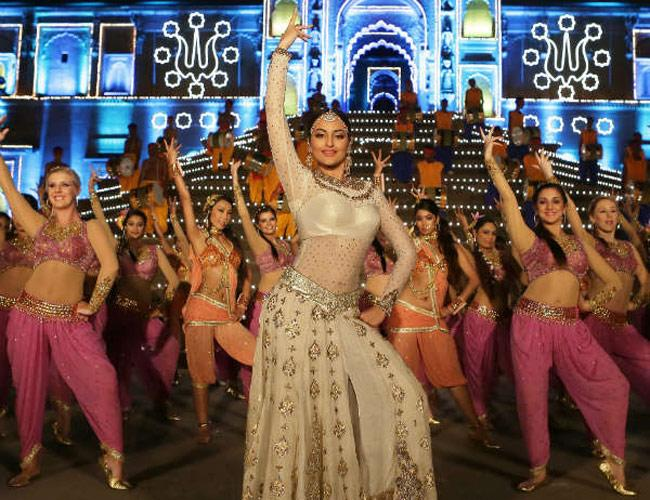 """The costume Sonakshi Sinha wore for the song """"Radha Nachegi"""" in the movie Tevar came for a whopping 75 lakhs, and the song itself costumed 2.5 crores. The ivory sheer lehenga and blackless choli had heavy kaamdani work all over and was a perfect fusion of trending global and Indian ramp trends. But against the movie's lukewarm reception, not sure if the costume did justice to the production house."""