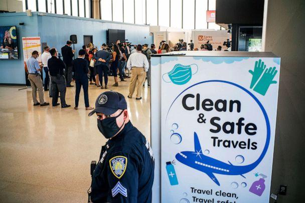 PHOTO: A Port Authority police officer stands watch on the day the new COVID-19 testing facility XpresCheck became available for passengers at Newark Liberty International Airport, Sept. 8, 2020 in Newark, N.J. (Eduardo Munoz Alvarez/Getty Images)