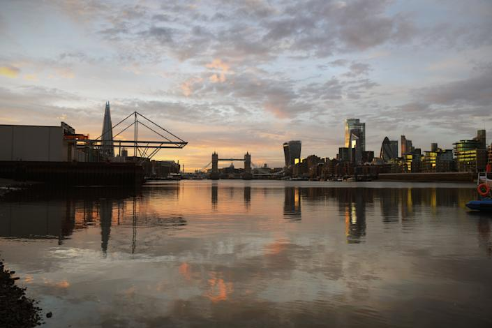 London as UK stocks dipped on Tuesday. Photo: Jeff Overs/BBC News & Current Affairs via Getty Images