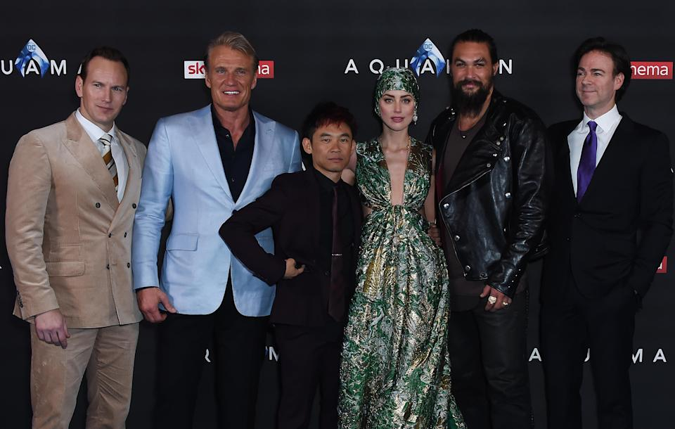 LONDON, ENGLAND – NOVEMBER 26: (L to R) Patrick Wilson, Dolph Lundgren, James Wan, Amber Heard, Jason Momoa and Peter Safran attend the World Premiere of 'Aquaman' at Cineworld Leicester Square on November 26, 2018 in London, England. (Photo by David M. Benett/Dave Benett/WireImage)