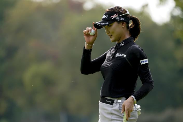 So Yeon Ryu, of South Korea, reacts after sinking her putt on the fourth green in the second round of the Cognizant Founders Cup LPGA golf tournament, Friday, Oct. 8, 2021, in West Caldwell, N.J. (AP Photo/John Minchillo)
