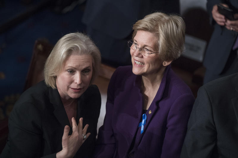 Two of the front-runners for the 2020 Democratic presidential nomination, Se. Kirsten Gillibrand and Sen. Elizabeth Warren. (Tom Williams via Getty Images)