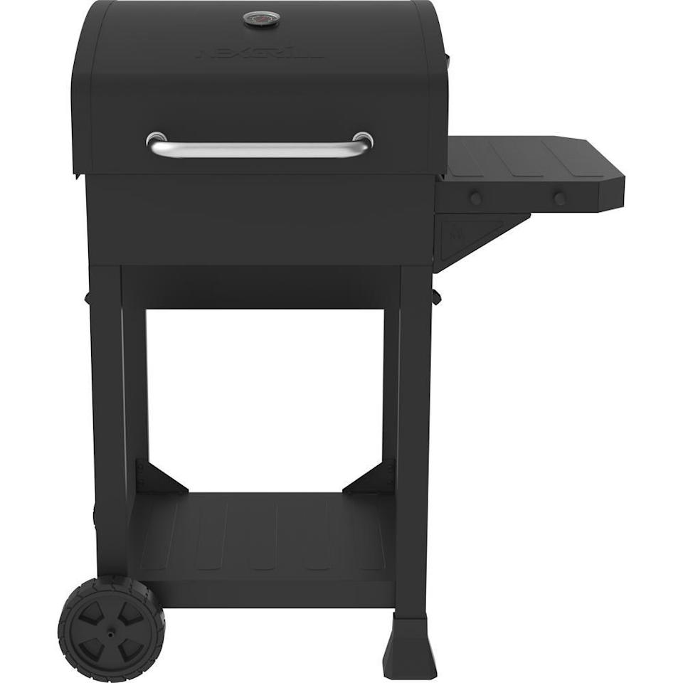 "<p><strong>Nexgrill</strong></p><p>homedepot.com</p><p><strong>$119.00</strong></p><p><a href=""https://go.redirectingat.com?id=74968X1596630&url=https%3A%2F%2Fwww.homedepot.com%2Fp%2FNexgrill-Cart-Style-Charcoal-Grill-in-Black-with-Side-Shelf-810-0047%2F314154547&sref=https%3A%2F%2Fwww.goodhousekeeping.com%2Fappliances%2Foutdoor-grill-reviews%2Fg31990980%2Fbest-charcoal-grills%2F"" rel=""nofollow noopener"" target=""_blank"" data-ylk=""slk:Shop Now"" class=""link rapid-noclick-resp"">Shop Now</a></p><p>This cart-style grill looks like a gas grill but uses charcoal.<strong> It has a solid design with a sturdy handle and side shelf.</strong> The grates are made of cast iron for durability and heat retention, and are coated with a porcelain enamel so you don't have to season them. The grill also has an adjustable charcoal tray that allows you to easily move the coals closer or further away from the food. The charcoal tray's rack is another unique details, which provides the ash with someplace to fall. </p>"