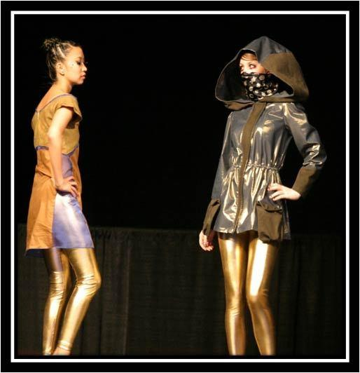 Garments created in the Textiles Nanotechnology Laboratory at Cornell University in Ithaca, N.Y. The brown and blue dress on the left was produced without any pigments or dyes. The colors were created by coating cotton fibers with nanoparticles