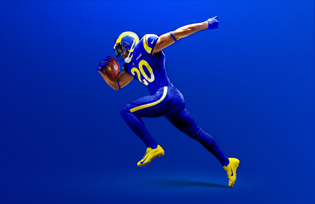 "The Rams introduced their new uniforms and color combinations for the 2020 season Wednesday morning. <span class=""copyright"">(Los Angeles Rams)</span>"