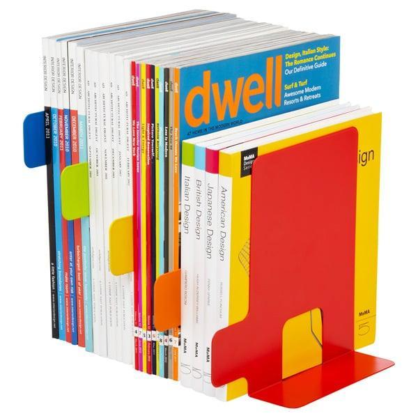 <p>The <span>Container Store Index Bookends</span> ($25) have dividers, so you can further organize your collection.</p>