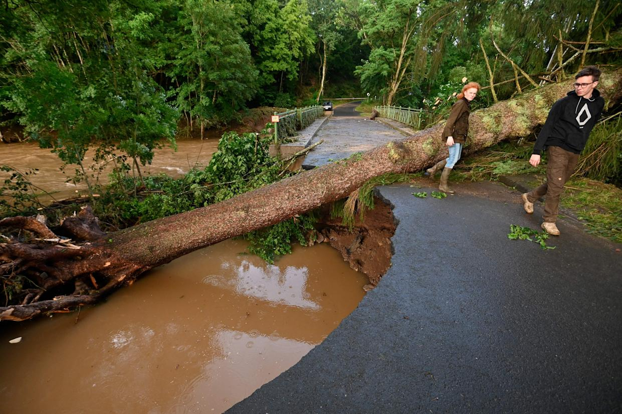 People pass by the trunk of a tree that had fallen onto a passage which was damaged following heavy rains and flood in Echtershausen, near Bitburg, western Germany, on July 15, 2021. - Heavy rains and floods lashing western Europe have killed at least 59 people in Germany and eight in Belgium, and many more people are missing as rising waters caused several houses to collapse on July 15, 2021. (Photo by SEBASTIEN BOZON / AFP) (Photo by SEBASTIEN BOZON/AFP via Getty Images)