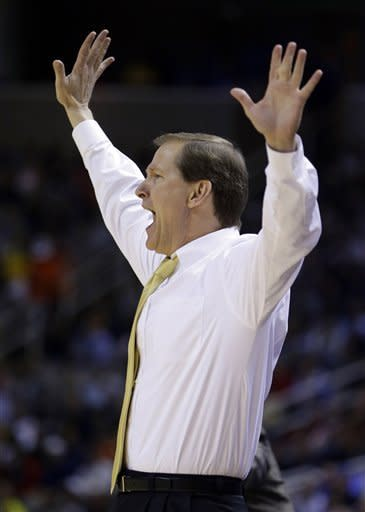 Oregon coach Dana Altman gestures from the sidelines during the first half of a third-round game in the NCAA college basketball tournament against Saint Louis Saturday, March 23, 2013, in San Jose, Calif. (AP Photo/Ben Margot)