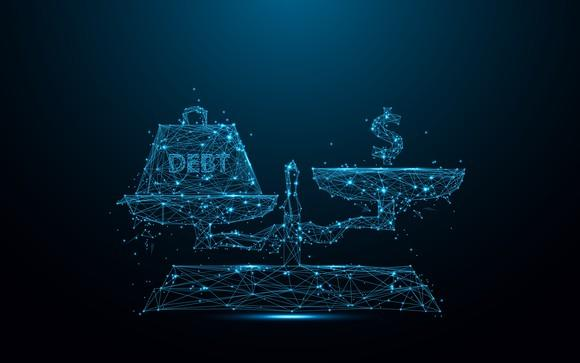 A lit-up, blue balance scale with debt written on the left and a dollar sign on the other.