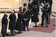 <p>Members of the royal family gather outside St. George's chapel ahead of the service. </p>