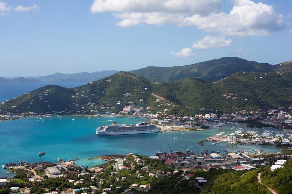 A cruise ship docked at Tortole, in the British Virgin Islands