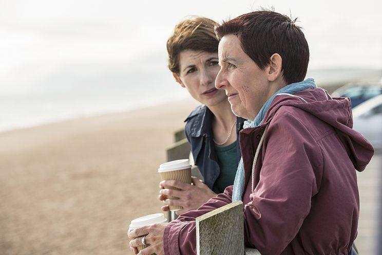 Jodie Whittaker as Beth Latimer and Julie Hesmondhalgh as Trish Winterman in BBC America's Broadchurch. (Photo Credit: Colin Hutton/BBC America)