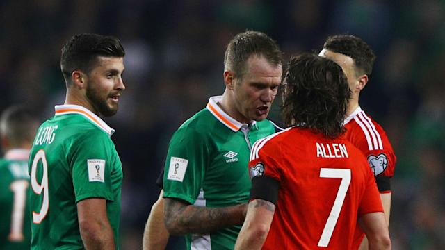 The two team-mates tangled during the World Cup qualifier between Wales and Republic of Ireland but their manager is not concerned
