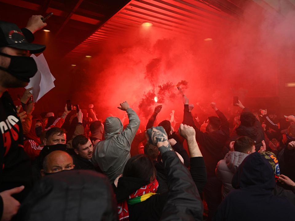 Man United fans forced their way inside Old Trafford to protest the Glazers' ownership of the club (AFP via Getty Images)