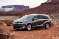 "<p><a href=""https://www.caranddriver.com/toyota"" rel=""nofollow noopener"" target=""_blank"" data-ylk=""slk:Toyota"" class=""link rapid-noclick-resp"">Toyota</a> says goodbye to frumpy with the 2021 Sienna minivan's all-new styling, and an all-hybrid lineup makes it a particularly efficient option among its rivals. The new Sienna's more stylish body, wide-mouth grille, and squinty headlamps draw inspiration from the <a href=""https://www.caranddriver.com/toyota/highlander-2020"" rel=""nofollow noopener"" target=""_blank"" data-ylk=""slk:2020 Highlander"" class=""link rapid-noclick-resp"">2020 Highlander</a> and give the van a more SUV-like look. Inside, the Sienna receives a similarly daring makeover but still keeps a focus on practicality and family-friendliness. Gone is last year's V-6 engine. In its place is a 2.5-liter four-cylinder plus two electric motors that make up the van's standard hybrid powertrain; all-wheel drive is still an option, and Toyota is boasting best-in-class fuel economy.</p><p><a class=""link rapid-noclick-resp"" href=""https://www.caranddriver.com/toyota/sienna"" rel=""nofollow noopener"" target=""_blank"" data-ylk=""slk:Review, Pricing, and Specs"">Review, Pricing, and Specs</a></p>"