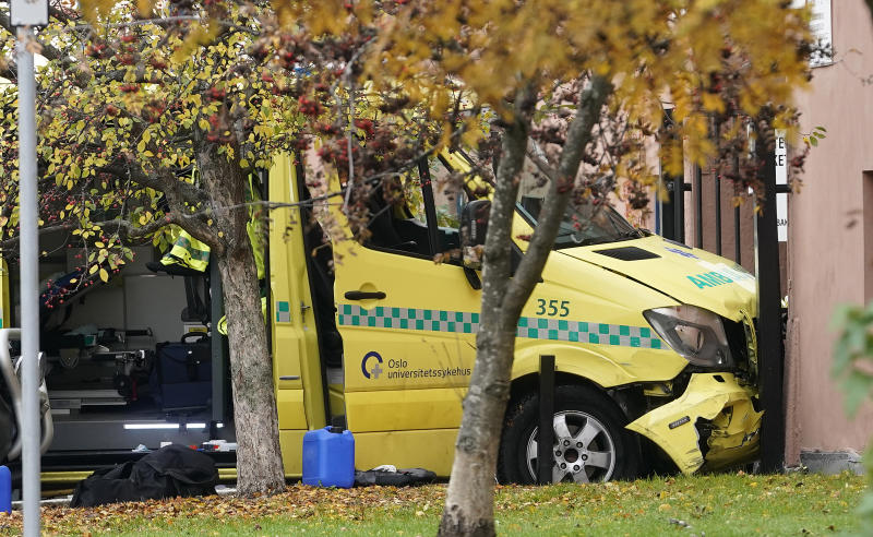 A damaged ambulance is seen crashed into a building after an incident in the center of Oslo, Tuesday, Oct. 22, 2019. Norwegian police opened fire on an armed man who stole an ambulance in Oslo and reportedly ran down several people. (Stian Lysberg Solum/NTB scanpix via AP)