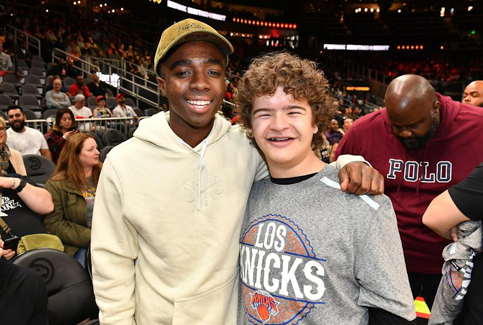 """<p>The two first met during their Broadway days, while Gaten was playing Gavroche in <strong>Les Miserables</strong> and Caleb was in <strong>The Lion King</strong>. Caleb has called Gaten his """"<a href=""""https://www.instagram.com/p/B0Ywt0UAAqe/"""" class=""""link rapid-noclick-resp"""" rel=""""nofollow noopener"""" target=""""_blank"""" data-ylk=""""slk:partner in crime on and off set"""">partner in crime on and off set</a>."""" Not to be outdone, Gaten also shared that Caleb is """"<a href=""""https://www.instagram.com/gatenm123/"""" class=""""link rapid-noclick-resp"""" rel=""""nofollow noopener"""" target=""""_blank"""" data-ylk=""""slk:one of the most awesome dudes"""">one of the most awesome dudes</a> I know"""" and """"I'm proud to call you my friend.""""</p>"""