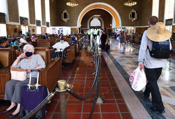 PHOTO: People wear face coverings as they gather in Union Station on July 19, 2021,  in Los Angeles. (Mario Tama/Getty Images, FILE)