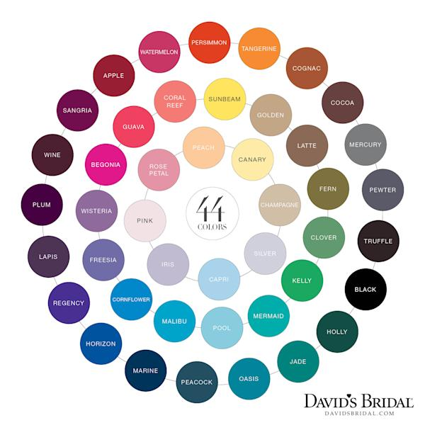 In this image released by David's Bridal, a color chart from the spring 2012 catalog for David's Bridal is shown. David's Bridal, which expects to sell 110,000 prom dresses this season, has a program with Men's Wearhouse in which young men can ask for coordinating ties and other accessories using a color from the chart that corresponds to their date's dress. (AP Photo/David's Bridal)