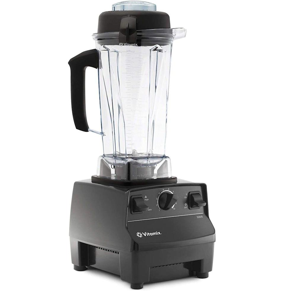 """<p><strong>Vitamix</strong></p><p>amazon.com</p><p><strong>$278.99</strong></p><p><a href=""""https://www.amazon.com/dp/B008H4SLV6?tag=syn-yahoo-20&ascsubtag=%5Bartid%7C10054.g.36716381%5Bsrc%7Cyahoo-us"""" rel=""""nofollow noopener"""" target=""""_blank"""" data-ylk=""""slk:Buy"""" class=""""link rapid-noclick-resp"""">Buy</a></p><p><strong>Save 49% with Prime</strong></p><p>An unstoppable, professional-grade blender for a professional-grade consumer of pulverized things.</p>"""