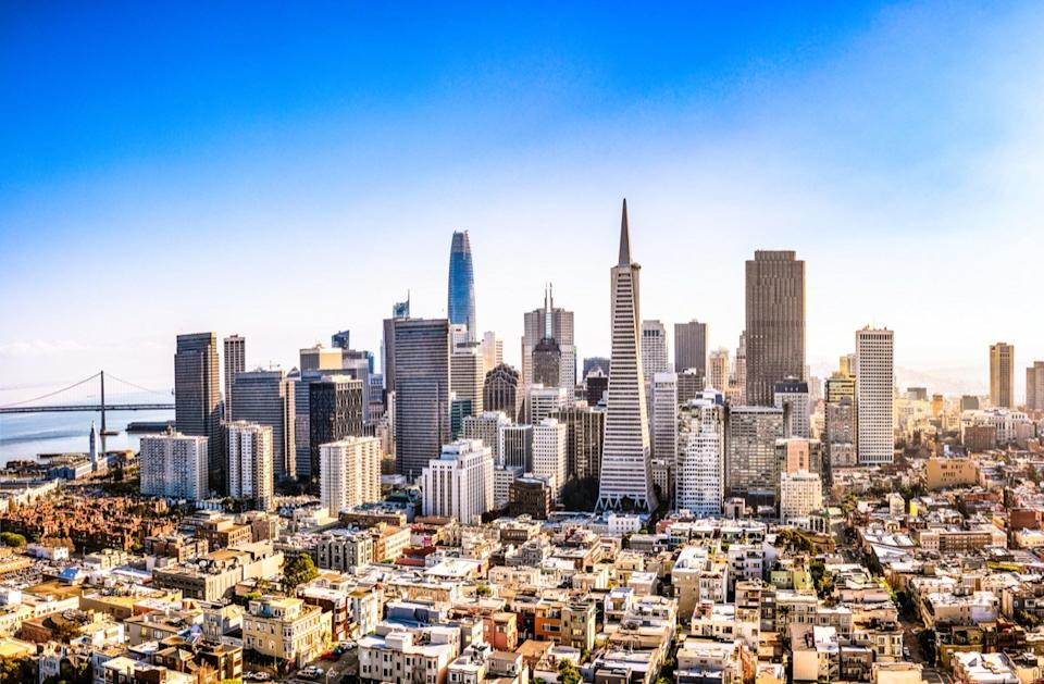 A high angle view of San Francisco's business district on a sunny day.