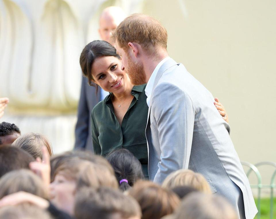 <p>During their first official visit to Sussex, Meghan was seen regularly planted her hand on her husband's back at any moment possible, proving the pair are still living in that honeymoon phase.</p>