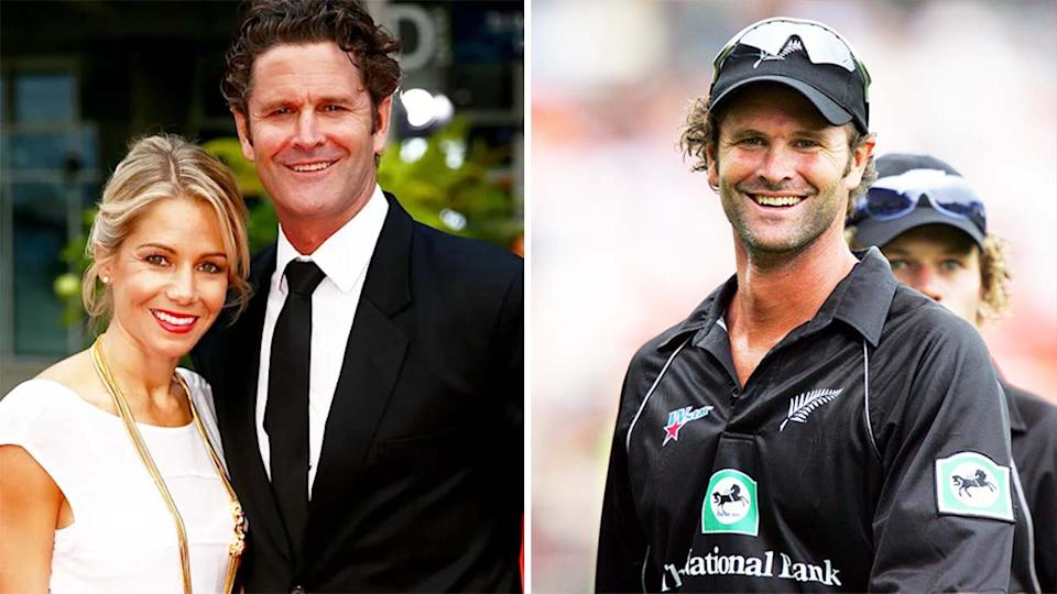 Chris Cairns and his wife Melanie (pictured left) and Cairns (pictured right) as he leaves the field playing for New Zealand.