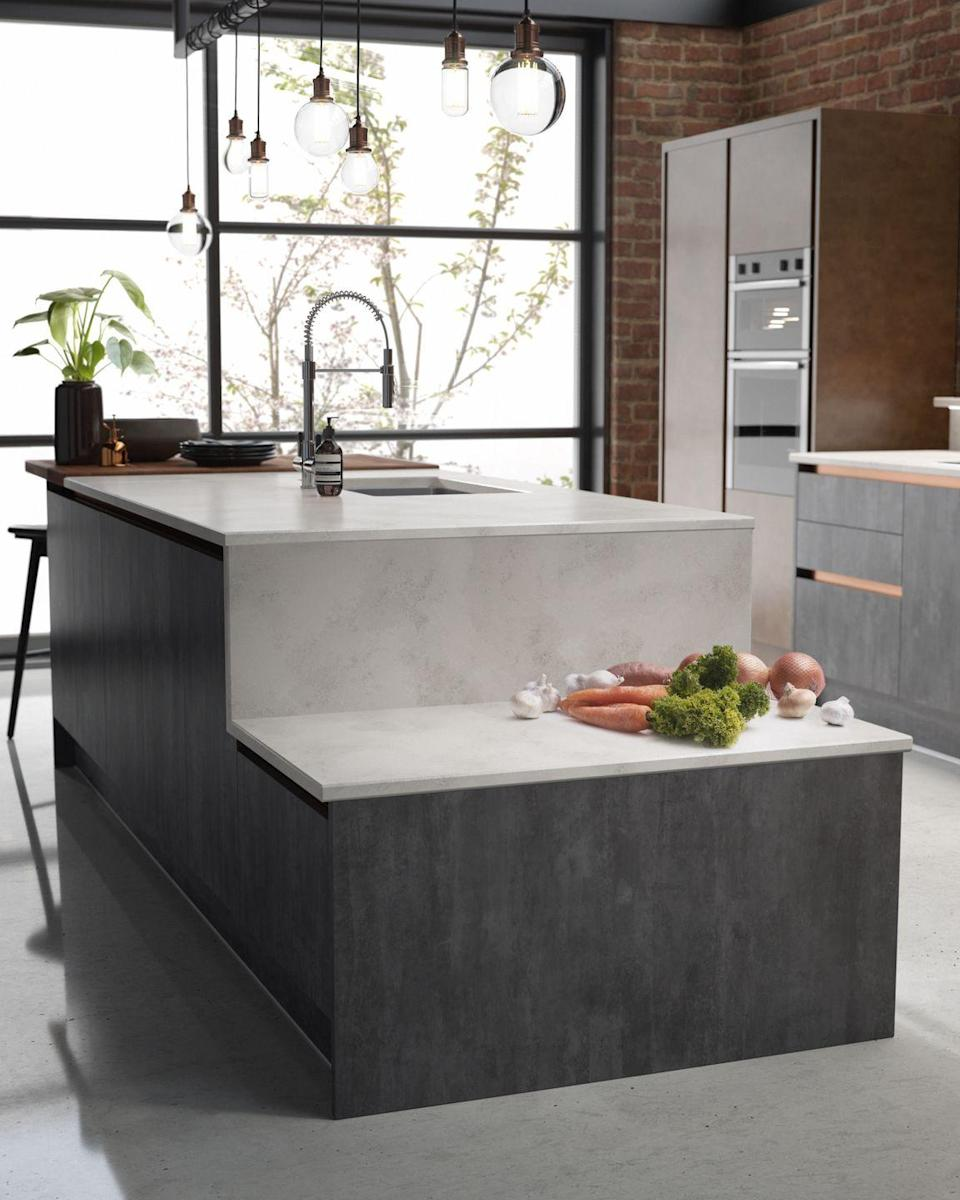 """<p>Don't be afraid to buck the trend and opt for something less traditional. We love this kitchen island idea from Wren Kitchens – the varying levels are great for family cooking and the design itself adds interest.</p><p>• 'Milano Elements' slate and copper kitchen island from <a href=""""https://www.wrenkitchens.com/"""" rel=""""nofollow noopener"""" target=""""_blank"""" data-ylk=""""slk:Wren Kitchens"""" class=""""link rapid-noclick-resp"""">Wren Kitchens</a></p>"""