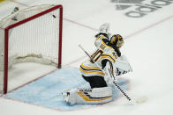 Boston Bruins goaltender Tuukka Rask (40) cannot stop a goal by Washington Capitals right wing Garnet Hathaway during the third period of Game 2 of an NHL hockey Stanley Cup first-round playoff series Monday, May 17, 2021, in Washington. (AP Photo/Alex Brandon)